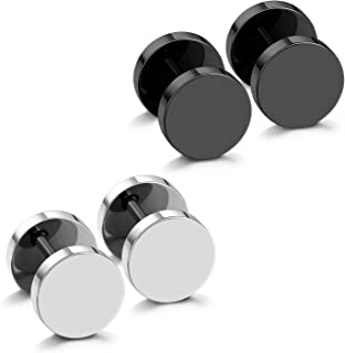 JewelrieShop Fake Plugs Stainless Steel Stud Earrings Gauges Cheater Plugs fuax gauges Earrings for Men Women(2 Pairs 18 Gauges, Black And Silver)