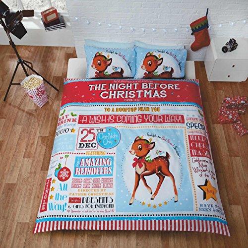 Natale Festive Natale Renna Rudolph Bambini Trapunta Matrimoniale Copripiumino Matrimoniale E 2federe Set di biancheria da letto, Multicolore, King