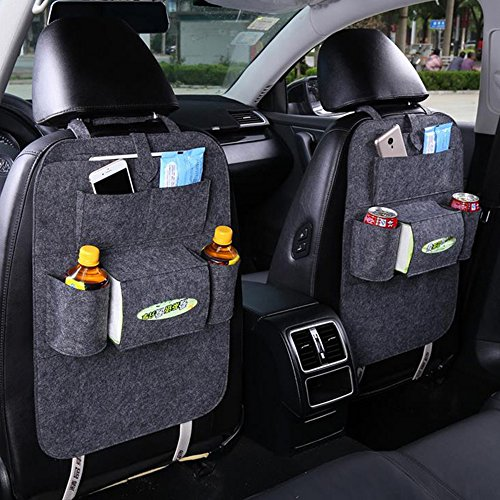 FULL WERK Car Seat Back Organizer Multi-Pocket Travel Storage Bag for Cars SUVs Trucks Vans (Deep Gray)