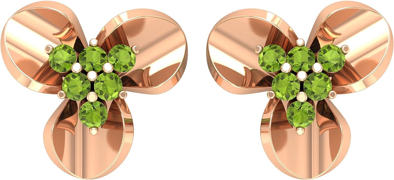 1/4 CT Peridot and Gold Three Petal Flower Stud Earrings,14K Rose Gold,Peridot