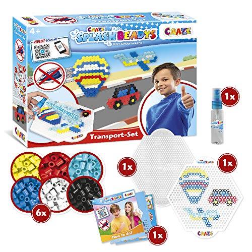 CRAZE Kinderbeschäftigung Splash BEADYS Transport Bügelperlen ohne Bügeln Beginner Bastelset Auto Flugzeug Ballon 32473, mehrere Farben im Set