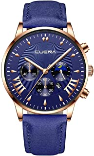 HAYQ 男性の腕時計CUENAカジュアルビジネスLeathベルトウォッチスリーアイズ六ピースカレンダークォーツリロイчасымужскиеrelogio masculino 30X (Color : J)