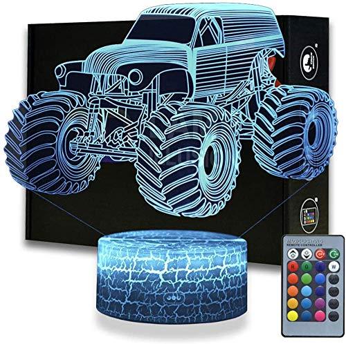 Monster Truck LED 3D luz de noche, alimentada por USB, interruptor táctil intermitente, 16 colores, decoración de dormitorio para niños, regalo de Navidad
