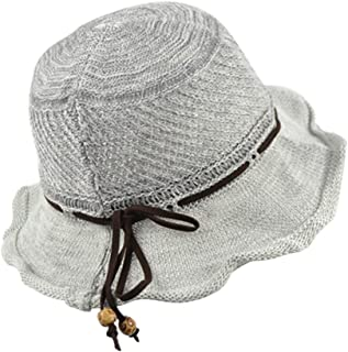Bow Steel Ring Sun Visor Linen Basin Cap Women's Hat Dome Hand-Woven Straw Hat (Color : Gray, Size : M (56-58cm))