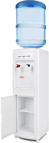 high quality COSVALVE 5 Gallon Top Loading Water Dispenser, Electric Hot/Cold new arrival Water Cooler Dispenser with popular Child Lock and Storage Cabinet for Home Office Use, White… outlet online sale