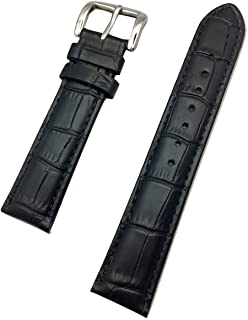 19mm Black Genuine Leather Watch Band | Square Alligator Crocodile Grained, Lightly Padded Replacement Wrist Strap That Brings New Life to Any Watch (Mens Standard Length)