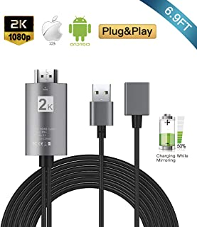 OJA HDMI Cable 6.9ft, 3 in 1 Phone Mirroring Cable, Compatible with iPhone iPad Android Phones to HDMI Adapter Cables, 1080P HD Digital Adapter for Phones to TV/Projector/Monitor, Plug and Play