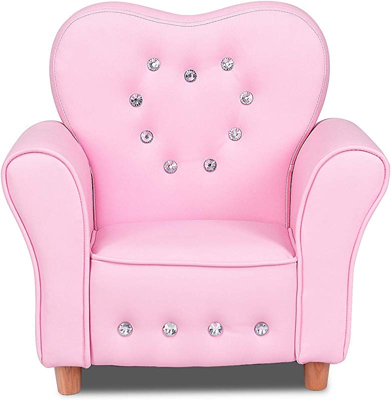 Costzon Kids Sofa PU Leather Upholstered Armrest Chair Sturdy Wood Construction Crystal Embedded Perfect For Preschool Girls Pink 22 Inch Single Sofa