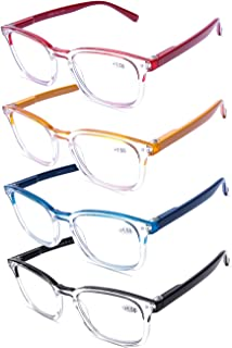 4 Pack Spring Hinge Reading Glasses Blue Light Filter Computer Readers Anti UV Glare Transparent Lens Large Frame Reader Glasses for Men Women +3.5