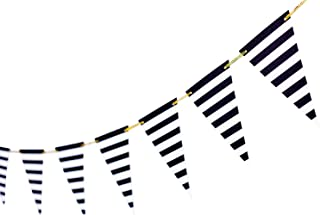 10 Feet Black Striped Banner Pirate Banner Thanksgiving Supplies Black and White Decoration Triangle Garland Flags Pirate Party Banner for Birthday Party Nursery Decor 15 Pieces