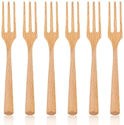 100 x Mini WOODEN BAMBOO Clear Appetiser Party Cutlery Forks Spoons Cocktail Sti