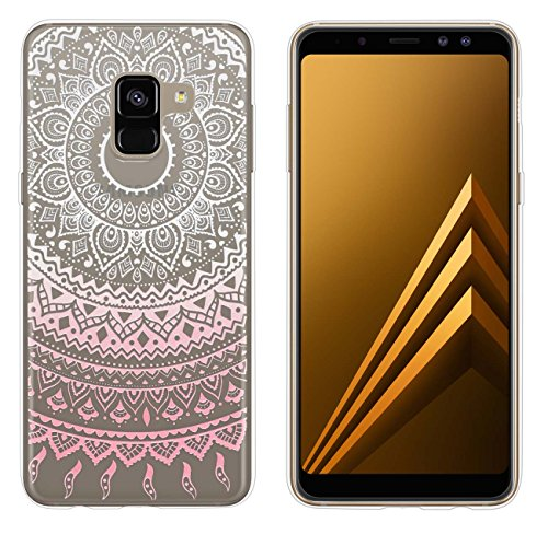 yayago Hülle für Samsung Galaxy A8 2018 / A8 2018 Duos Silikon Schutzhülle Hülle Hülle Backcover Tattoo Ornament Mandala Design transparent Tasche