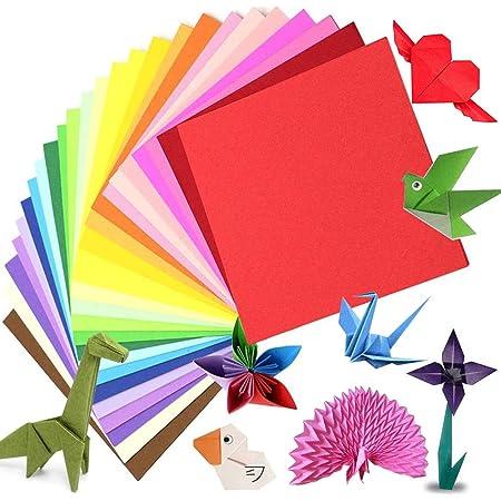 Papier origami 200 feuilles, papier origami recto-verso papier de papier kraft coloré pour enfants adultes, 15 x 15 cm/6 pouces 20 couleurs papier pliant papier origami pour décorations de bricolage