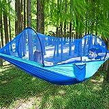 KX-YF Camping Hamaca 250x120cm al Aire Libre Hamaca Doble oscilación Colgante Cama con Mosquitera + Tienda de campaña Parasol Toldo Opcionales para Camping Senderismo Mochilero