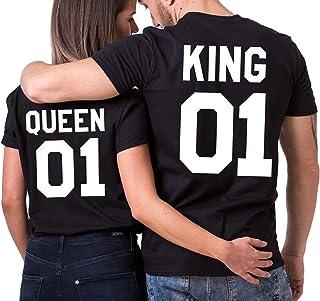 JWBBU King Queen Couple T Shirt Partner Look Couple Tops Set Pour Couple  Noir