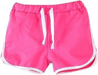 Bowanadacles Completo Bambina Estivo 2 Pezzi Top Monospalla Senza Maniche Pantaloncini Larghi a Quadri con Cintura 2-7 Anni