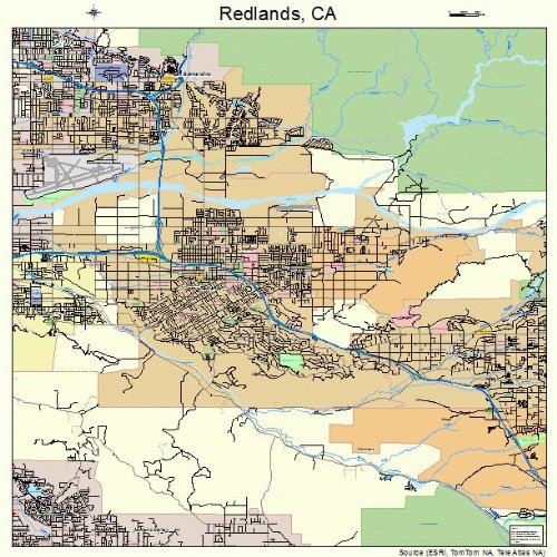 Large Street & Road Map of Redlands, California CA - Printed poster size wall atlas of your home town