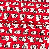 Baumwollstoff Mops rot - Preis gilt für 0,5 Meter