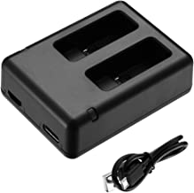 Powerextra Dual Battery Charger with Micro USB Cable for GoPro HERO8 Black GoPro HERO7 Black GoPro HERO6 Black GoPro HERO5, HERO5 Black GoPro HERO 2018
