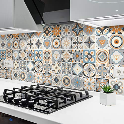 Ambiance Sticker – zelfklevende cementtegels – wanddecoratie sticker tegels voor badkamer en keuken – cementtegels zelfklevend – 15 x 15 cm – 24 stuks