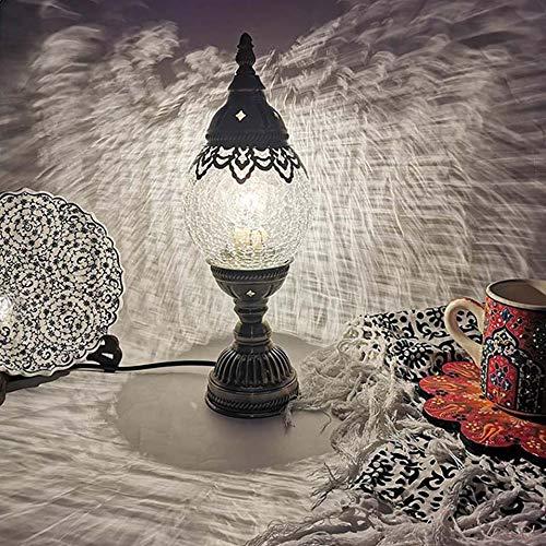 ZDSKSH Lámpara de Mesa de Mosaico Turco, marroquí Artesanal, Lámpara Escritorio de Vidrio Cristal, cabecera Decorativa, luz de Noche con Base de Bronce para Dormitorio de Sala de Estar