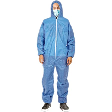 ABC Blue SMS Overall Medium Size with Hood Elastic Cuffs Ankles Waist Industrial Overall Unisex Disposable Workwear for Cleaning Painting Manufacturing Lightweight Breathable