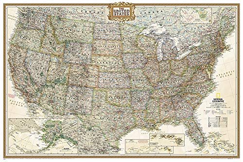 National Geographic: United States Executive Wall Map (Poster Size: 36 X 24 Inches): Wall Maps U.S. (National Geographic Reference Map)