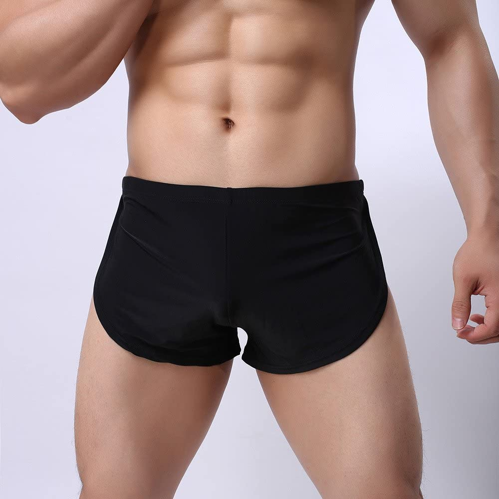 UOKNICE MEN-TOPS Mens New Seamless Underwear Comfy Low Rise Breathable Thin Ice Silk Boxer Trunks