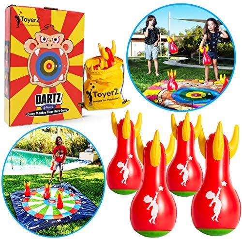 ToyerZ DartZ, Juguete de 4 Dardos Inflables de Plástico para Jugar al Aire Libre o a Cubierto, Dardos de Césped, Un Regalo de Puntería y Lanzamiento para Niños y Adultos