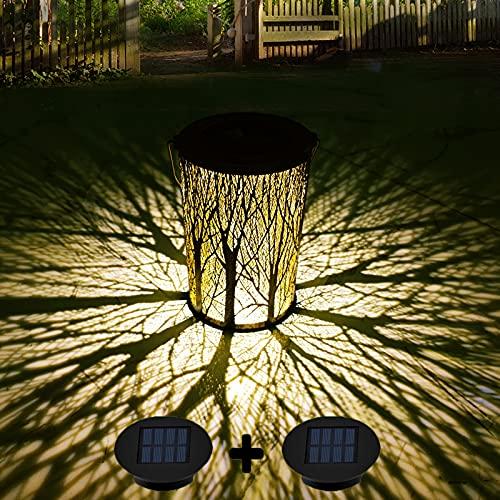 Solar Lantern Outdoor, Kwaiffeo Waterproof Decorative Solar Garden Lights, Retro Metal Hanging Solar Lanterns Table Lights for Patio Yard Pathway, 2 Solar Panels(1 Spare), Garden Decor for Outside