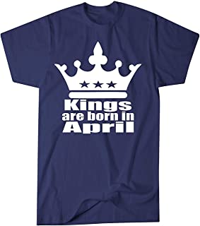 ZoDong Adult Unisex Kings are Born in April Birthday T-Shirt Novelty T-Shirt