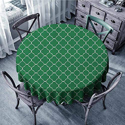 ScottDecor banquet Round tablecloth Table Cover Quatrefoil,Four Leaf Clover Flower on Moroccan Trellis Mosaic Pattern Traditional Digital Print, Green diameter 92 cm