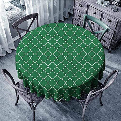 ScottDecor banquet Round tablecloth Table Cover Quatrefoil,Four Leaf Clover Flower on Moroccan Trellis Mosaic Pattern Traditional Digital Print, Green diameter 92 cm