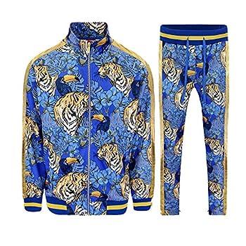 G-Style USA Men s Royal Floral Tiger Track Suit ST559 - Royal Blue - 3X-Large