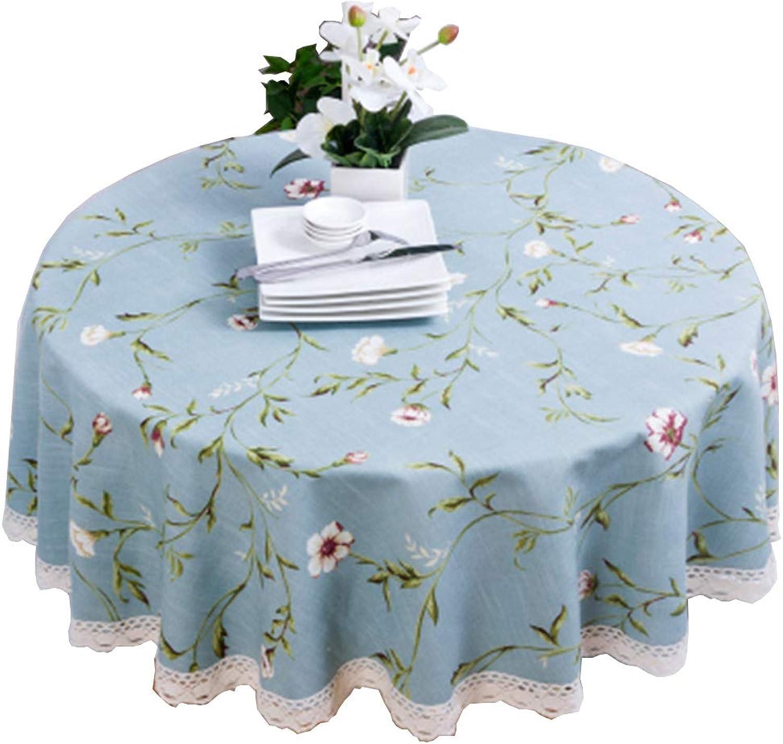 primera vez respuesta Mantel Floral Azul, algodón Simple y Mantel de Lino Lino Lino rojoondo 90-280CM (Tamao   200cm)  Nuevos productos de artículos novedosos.