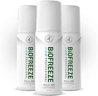 Biofreeze Professional Roll-On Pain Relief Gel, 3 oz. Bottle, Green, Pack of 3 (Package may vary)