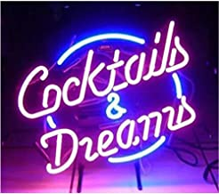 Cocktails and Dreams Glass Neon Signs Beer Bar Club Bedroom Glass Neon Lights Sign for Office Hotel Pub Cafe Wedding Birth...