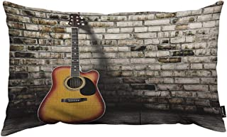 HOSNYE Guitar Throw Pillow Cover Blank Empty Room with Old Brick Wall Linen Fabric for Couch Bed Sofa Car Waist Cushion Cover 12 x 20 inch Pillow Case