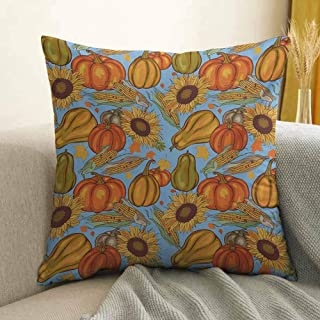 Antony Petty Harvest Bedding Soft Pillowcase Agriculture Theme Vegetable Pattern Corns Pumpkins and Sunflowers Hypoallergenic Pillowcase W16 x L16 Inch Orange Yellow Pale Blue