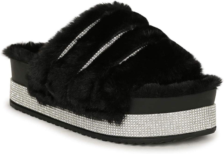 Rasolli Faux Fur Rhinestone Platform Plush Slide Sandal 20446 - Black Faux Fur (Size: 9.0)