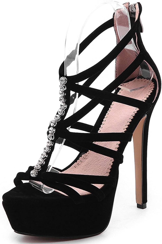 VIMISAOI Summer Women's Fashion High Heel Zipper Fur Balls Strappy Platform Black Sandals