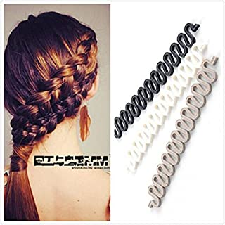3Pcs (Black,Grey,White) Women Hair Styling Clip DIY French Hair Braiding Tool Roller Bun Maker Hairstyle Braid Tool Twist ...