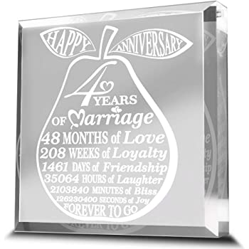 4 Years of Marriage-Traditional Fruit gift for 4th Anniversary-Engraved Acrylic Paperweight (3 3/4 x 3 3/4 (pear))