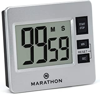 MARATHON TI030012 Stainless Digital Kitchen Timer with Jumbo Digits, Loud Alarm And Magnetic Back with Stand - Battery Included. Color- Silver