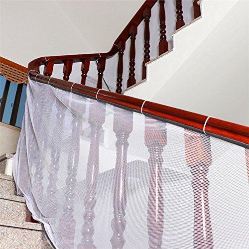 Imagen para Amknn - Red de seguridad para niños o mascotas muy resistente e impermeable, para interior o exterior, ajustable a balcón, escaleras o patios. Color blanco blanco gris Talla:2M