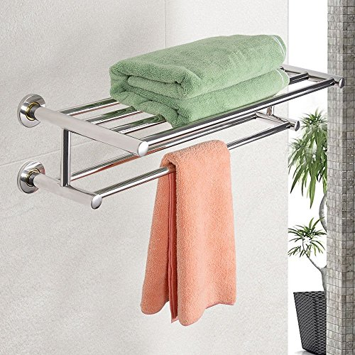 Double Chrome Wall Mounted Bathroom Towel Rail Holder Shelf Storage Rack Bar New