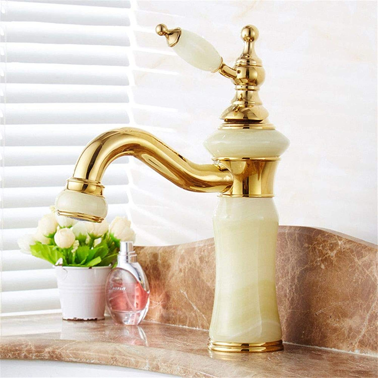YAWEDA Natural Jade Full Copper gold Face Pot Tap Cold and Hot Water Mixer 360 Degree redary Antique Bathroom Tap Single Hand Strip Aerator,Green Jade