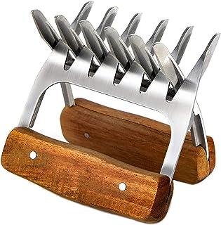 肉の爪、メタルミートクローひき肉の爪木製ハンドル付きステンレス製ミートフォークチョッピング、プル、キャリングに使用