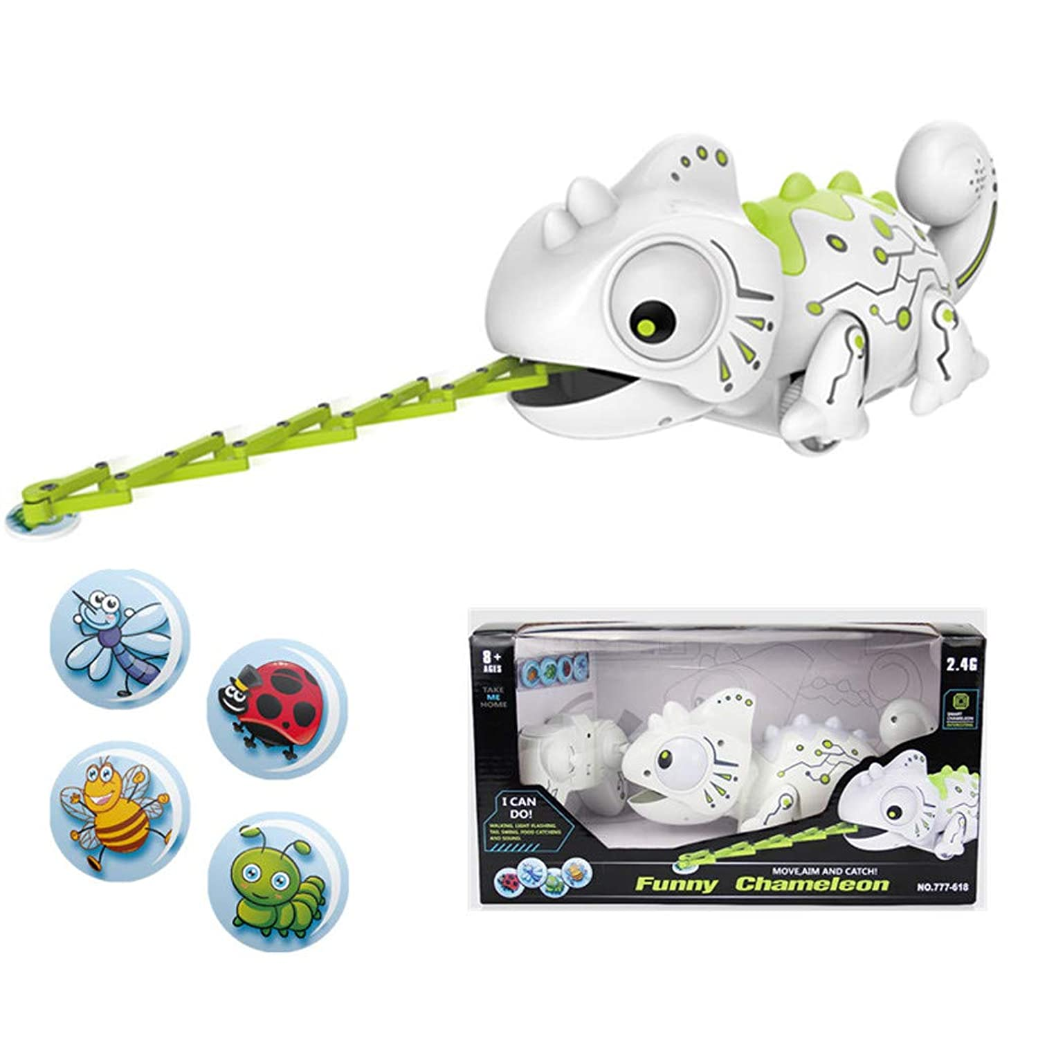 Onefa Smart Chameleon Robotic Can Eat Things Function Cute Toy Electronic Pets Feeding Function Cute Toy Gifts Idea for Kids Interactive Smart Robotic (Multicolor) wrifjk3830611