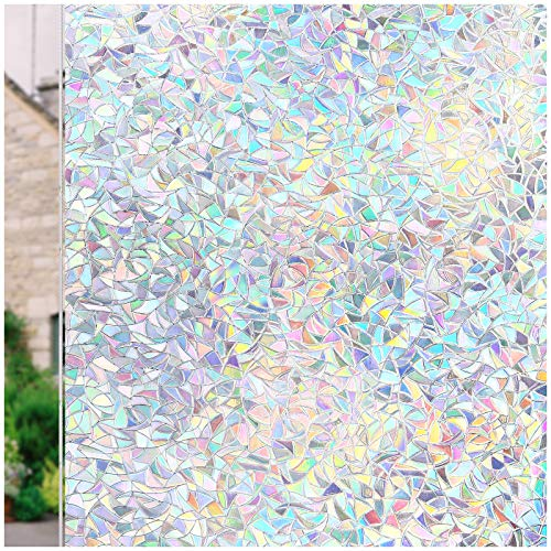 Window Film 3D Static Decoration Self Adhesive for UV Blocking Heat Control Privacy Glass Stickers Thickness 0.3mm, for Home Living Room Bedroom, 35.4x78.7 Inches